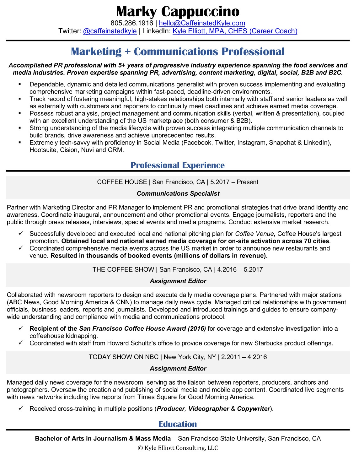 Resume Samples Kyle Elliott Consulting