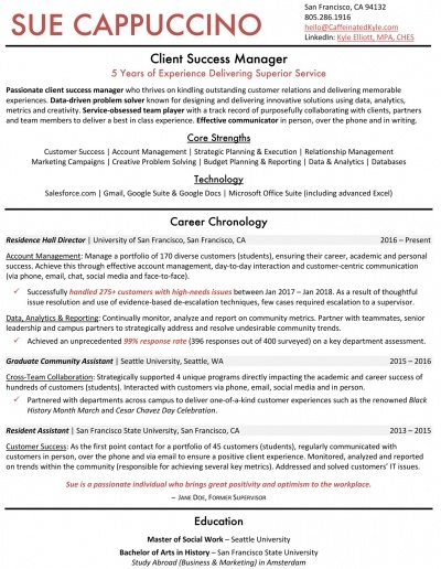 Customer Success Career Transition Resume
