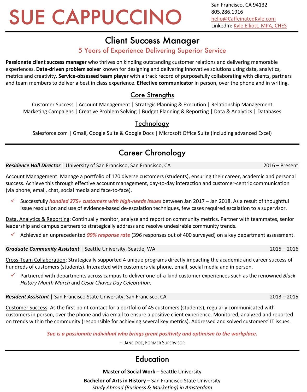 Customer Success Career Transition Resume
